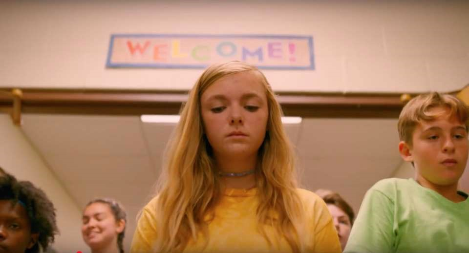 Elsie Fisher as Kayla in Eighth Grade, walking into high school on her first day