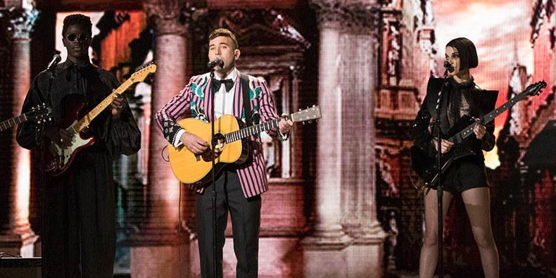 Sufjan Stevens on stage performing his song mystery of love at the oscars