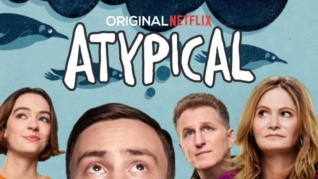 An Atypical poster with the faces of Sam, his sister, father and mother looking up and around the bubble styled title of 'Atypical' at the top.