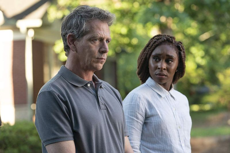 Image from the show The Outsider. A troubled Ben Mendelsohn stares into the distance, and Cynthia Eviro stares at him.