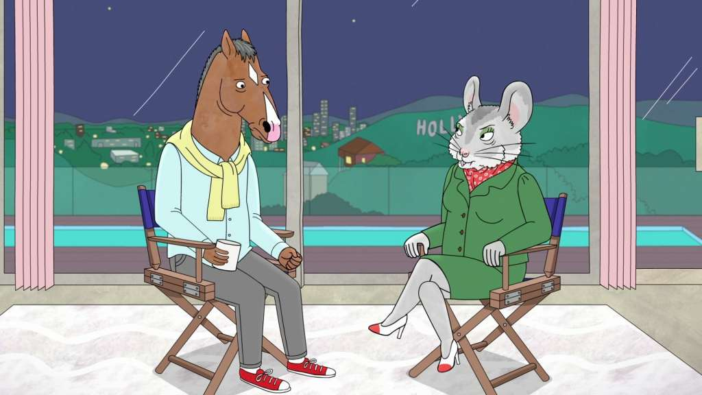 An anthropomorphic horse and an anthropomorphic mouse sitting down having an interview, from the animation BoJack Horseman.