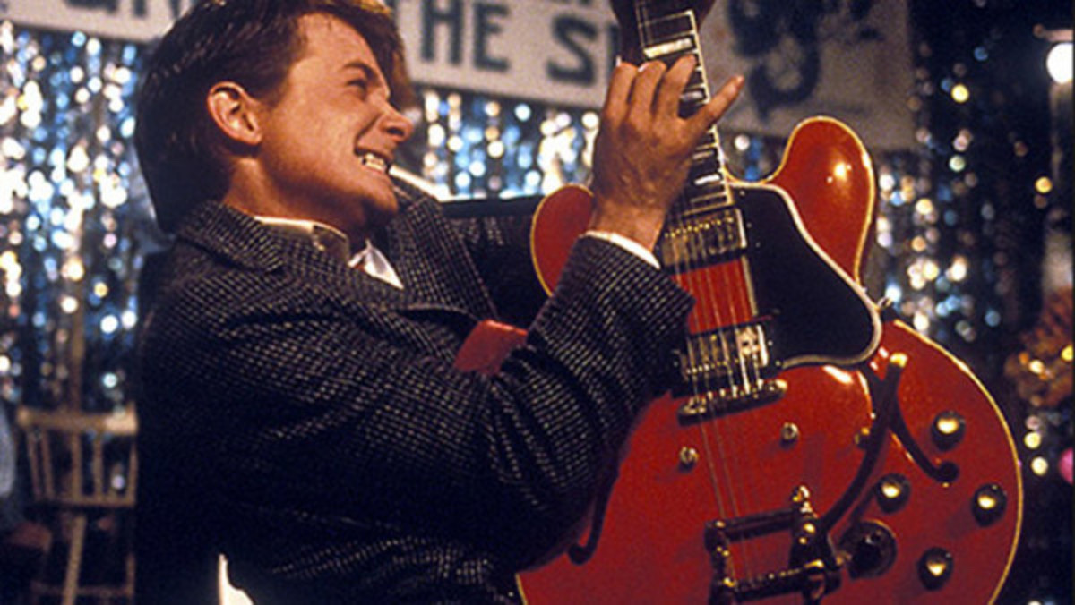 Marty McFly (Michael J. Fox) inventing rock music in Back to the Future