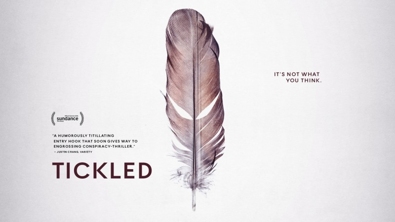 Tickled's Official Poster - a faded brown feather on a white background.