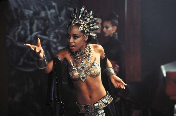 A movie still of Aaliyah as Queen Akasha from Queen of the Damned (2002)