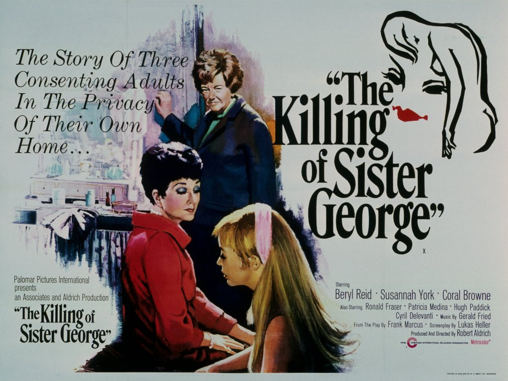 "Poster for the movie ""The Killing of Sister George'. Shows three central characters looking unamused, with the tagline 'the story of three consenting adults in the privacy of their own home...'"