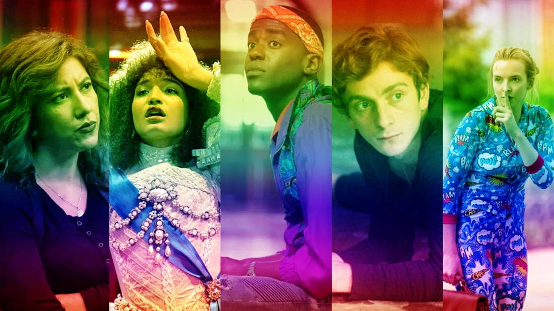 Five images of characters included in the article overlayed with pride colours. Image from left to right: Rosa Diaz, Angel Evangelista, Eric Effiong, Merab, Villanelle