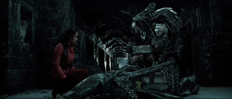 A movie still of the actress Sanaa Lathan as Alexa Woods and the creature, predator, from the 2004 film Alien v. Predator.