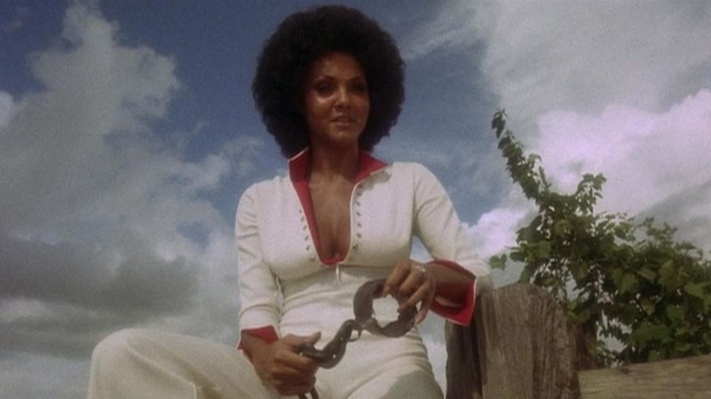 A movie still of Marki Bey as the character Sugar Hill, from the 1974 film Sugar Hill.