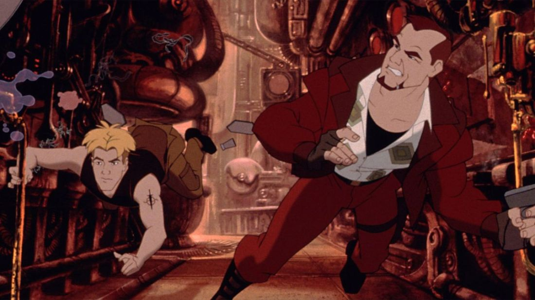 The image is from the film Titan A.E. Two men, one blonde one brunette, float in a mechanic realm as if without gravity.
