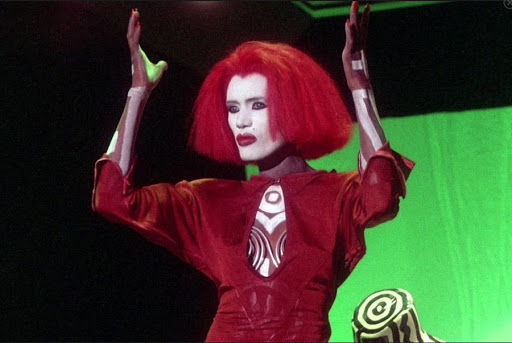 A movie still of Grace Jones as the character Katrina, from the 1986 film Vamp