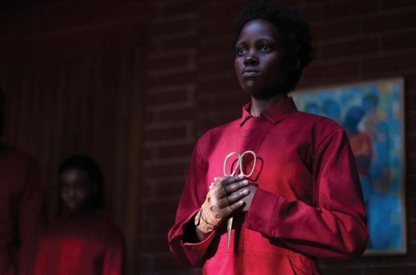 A movie still of Lupita Nyong'o as the character Red, from the 2019 film Us.