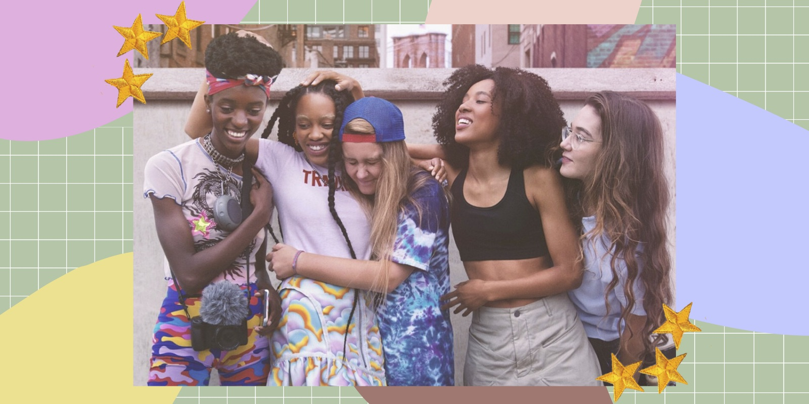 This image is from the TV series Betty (2020). Five girls hug one another whilst engaged in laughter and conversation. This image is surrounded by a green grid, pastel coloured shapes and fabric stars.