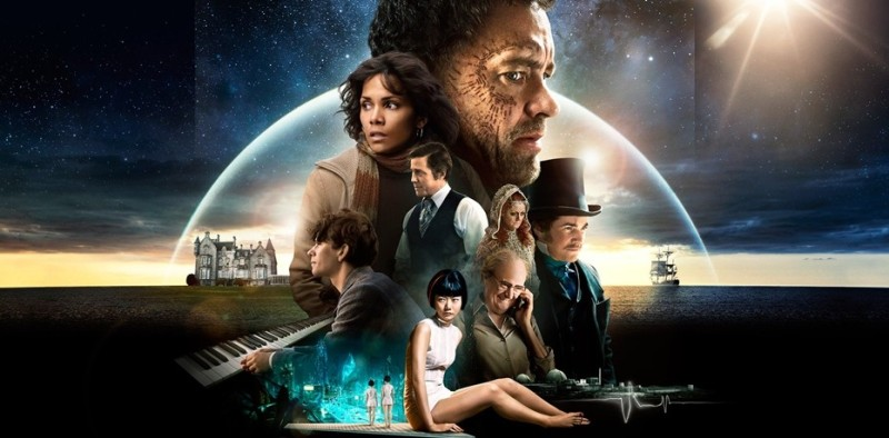 A large ensemble of characters from Cloud Atlas' multi-era spanning story