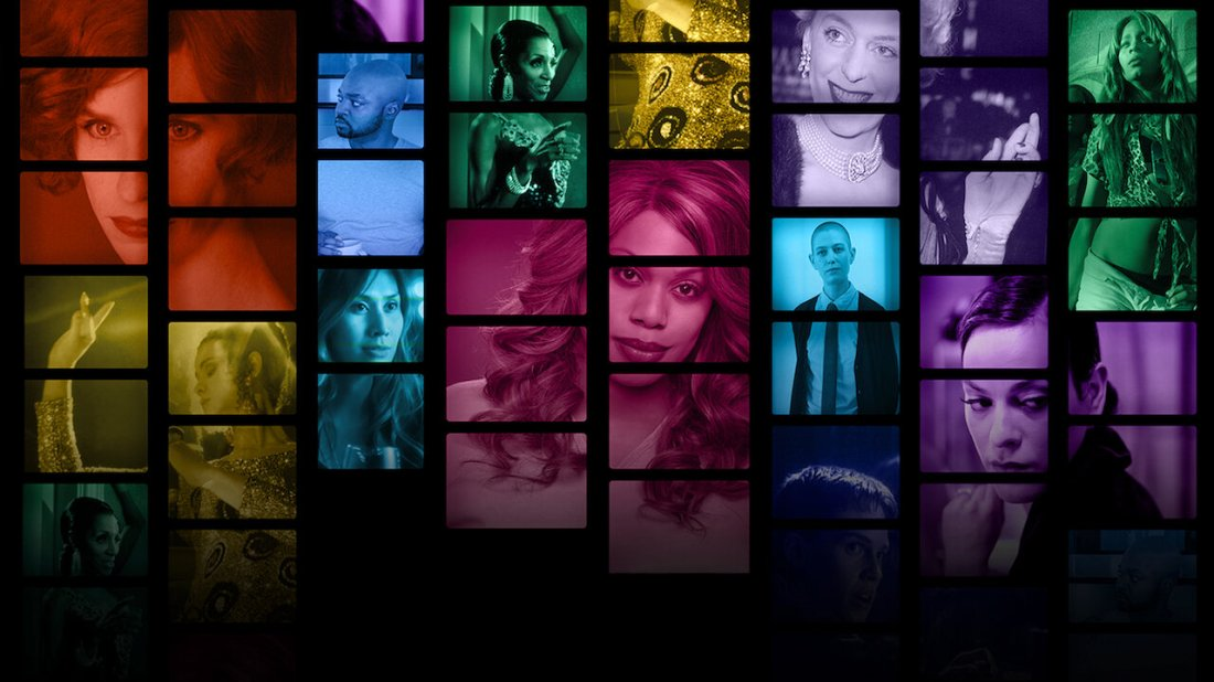 This image is from the documentary Disclosure. It contains different images of trans characters in film and TV, with each character highlighted in a different colour.