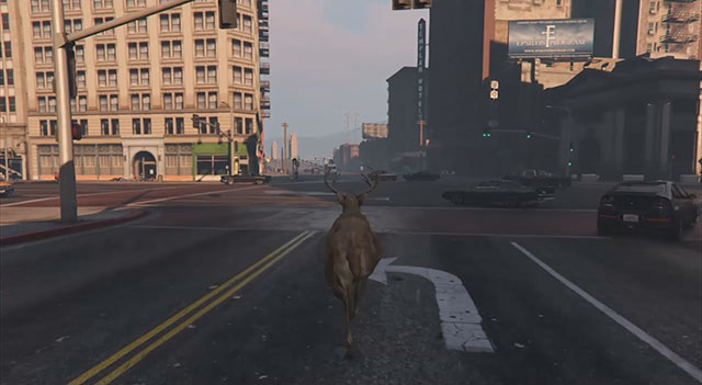 This image is from San Andreas Deer Cam. It is a screenshot from a video game, following the perspective of a deer who is walking around a city.