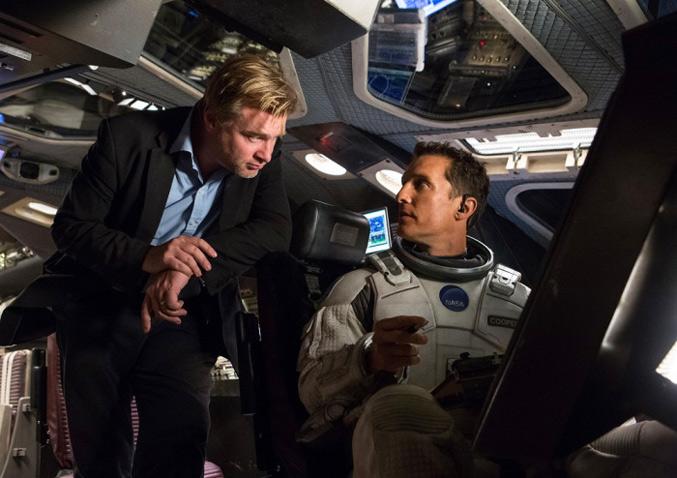Christopher Nolan directing Matthew McConaughey on the set of Interstellar, in the spacecraft
