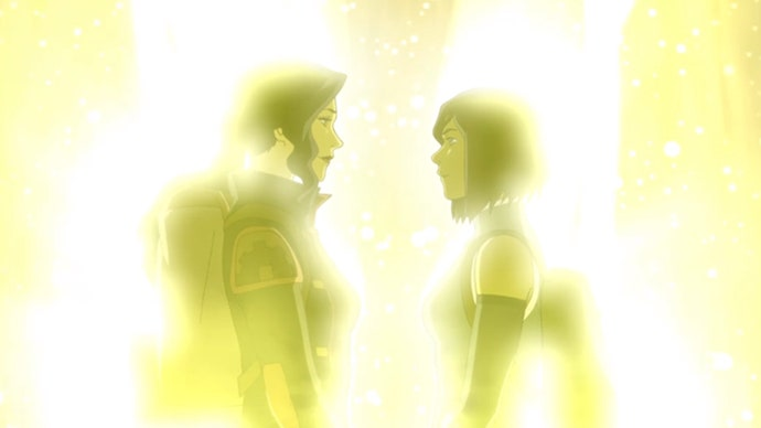 Asami (left) and Korra (right) looking into each others eyes. Image Courtesy of Nickelodeon.