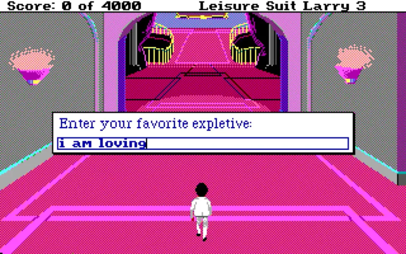 An arcade style character walks down a bright hall. Image courtesy of Sierra Entertainment.