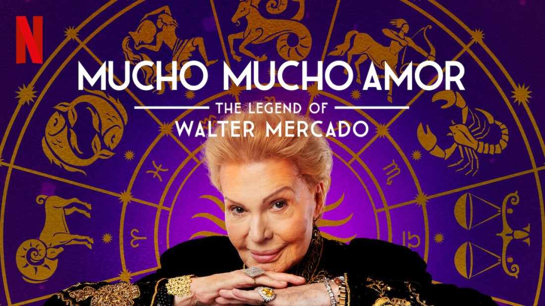 """Promotional photo for the Netflix documentary """"Mucho Mucho Amor: The Legend of Walter Mercado."""" An image of Walter Mercado's smirking face over an astrological wheel."""