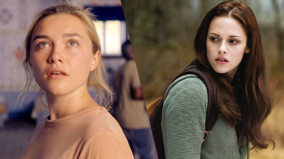 On the left is an image of Dani from Midsommar, who is looking up at something. On the right, is an image of Bella Swan from the Twilight Saga, who looking over her shoulder.