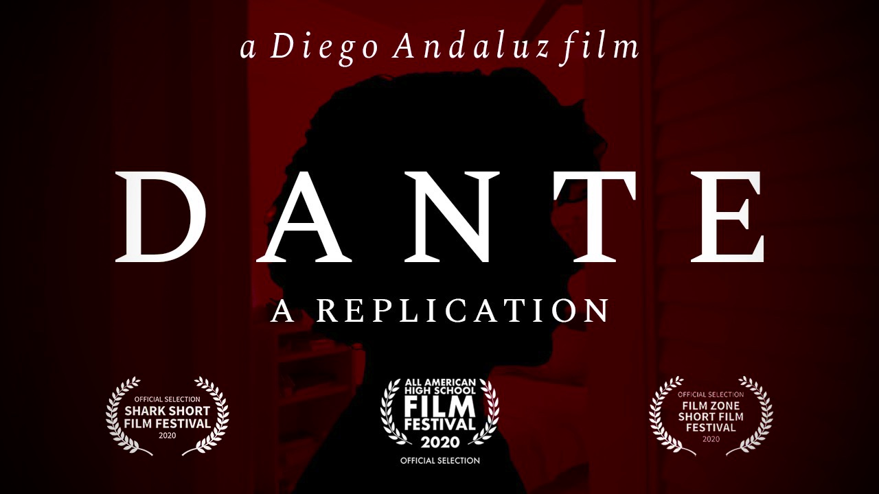 """The poster for Dante: A Replication. A shadowed side profile of Dante set against a red lit room. Text over the image says """"a Diego Andaluz film"""" and 'Dante: A Replication."""" There are also some festival selections."""