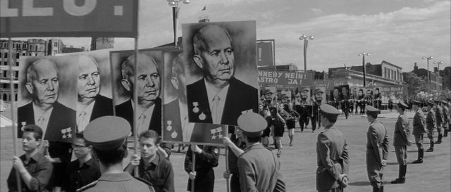 An East Berlin Parade with signs of Nikita Khrushchev.