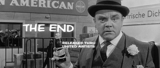 James Cagney holds a Pepsi-Cola bottle in disbelief in the closing shot