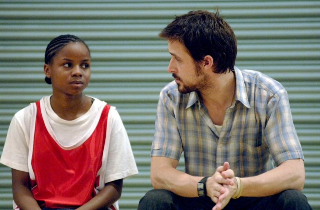 Drey and Dan look thoughtfully at each other in Half Nelson