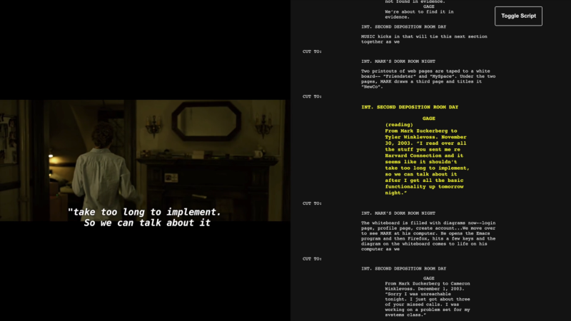Image from the Screenplay Subs website. On the left, is a screenshot from a film where a woman walked into a room. On the right, is the corresponding screenplay.