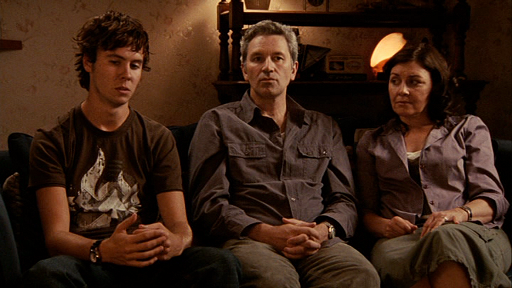 The Palmer family, left to right, Mathew (Martin Sharpe), Russell (David Pledger), and June (Rosie Traynor) are interviewed about Alice's death