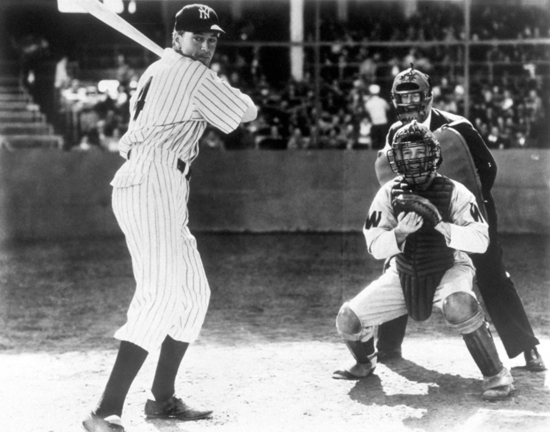 Lou Gehrig lines up at the plate in The Pride of the Yankees