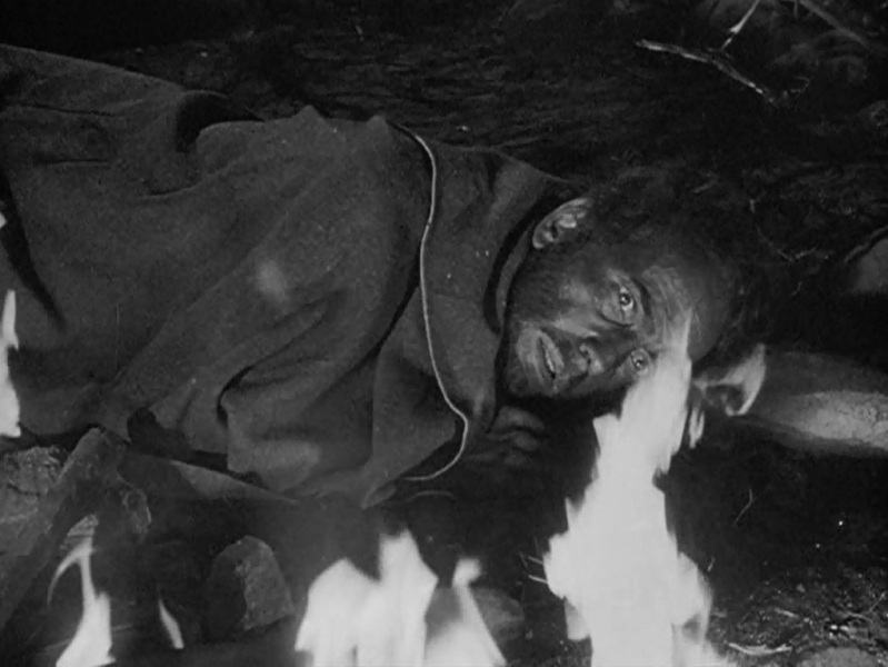 Humphrey Bogart stares into the fire.