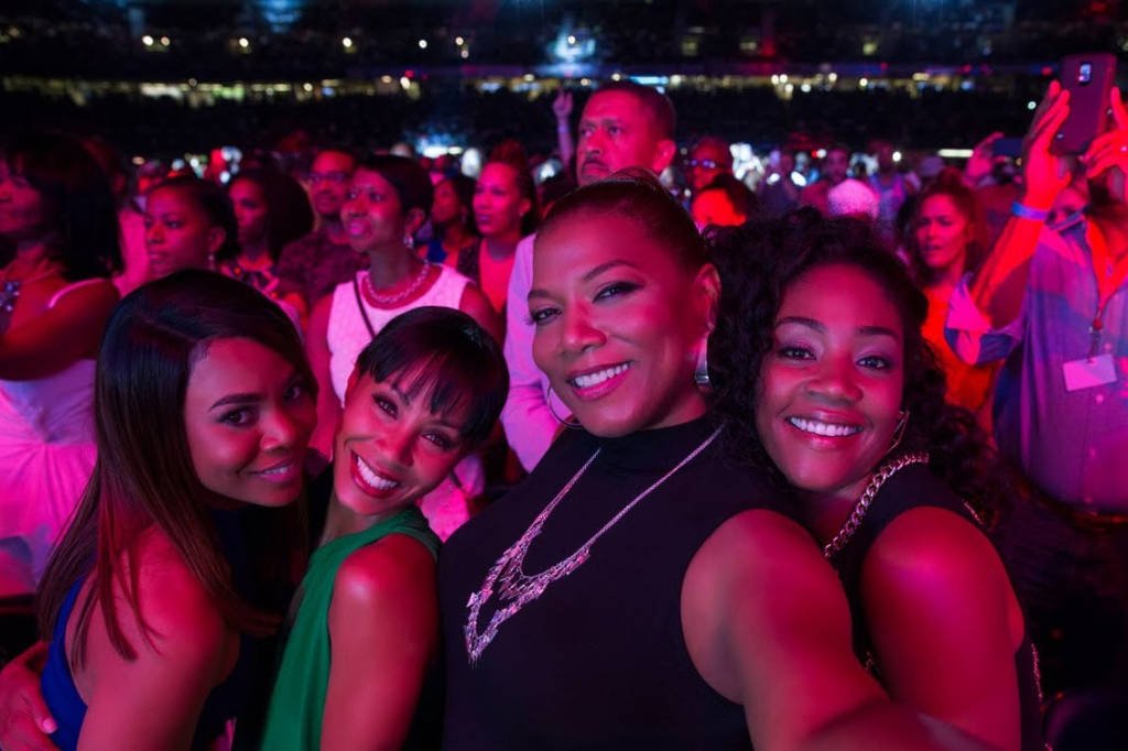 Image from the film Girls Trip. A selfie of Ryan, Lisa, Sasha and Dina, taken at a concert