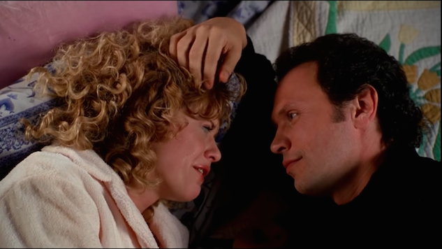 Harry runs his hand through Sally's hair on her bed as she cries about her ex-boyfriend's engagement.