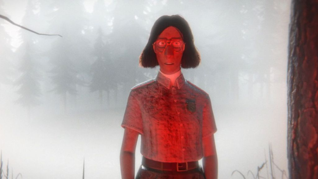 A woman, basked in red lighting, stares directly at the camera. She has large wire frame glasses, a dark brown bob, and is dressed in a park ranger uniform. Surrounding her are trees and dense fog. The entire image is CG animated.
