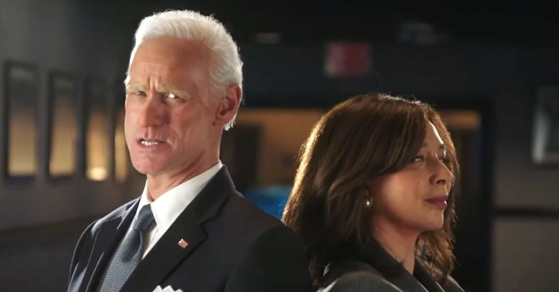 Jim Carey as Joe Biden and Maya Rudolph as Kamala Harris stand back to back in a promo for the new season of SNL.