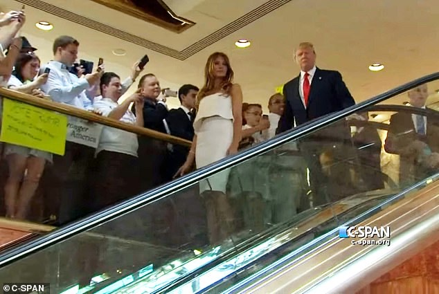 Donald and Melania Trump descent the escalator at Trump tower in 2015, launching Trump's Presidential campaign.
