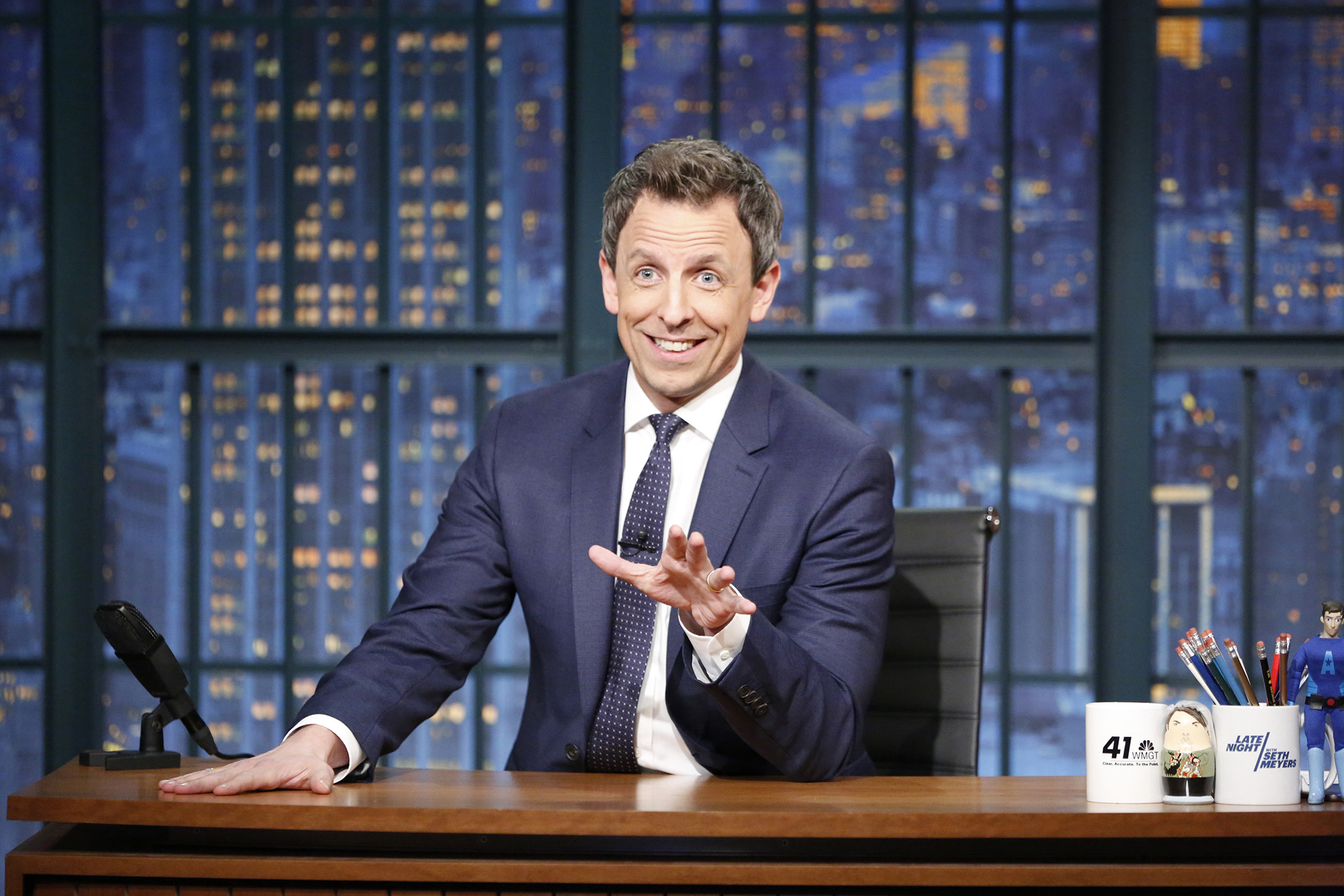 Seth Meyers, pictured hosting Late Night with Seth Meyers.