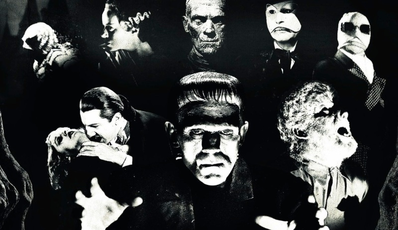 A collection of close-ups of all 8 Universal Monsters.