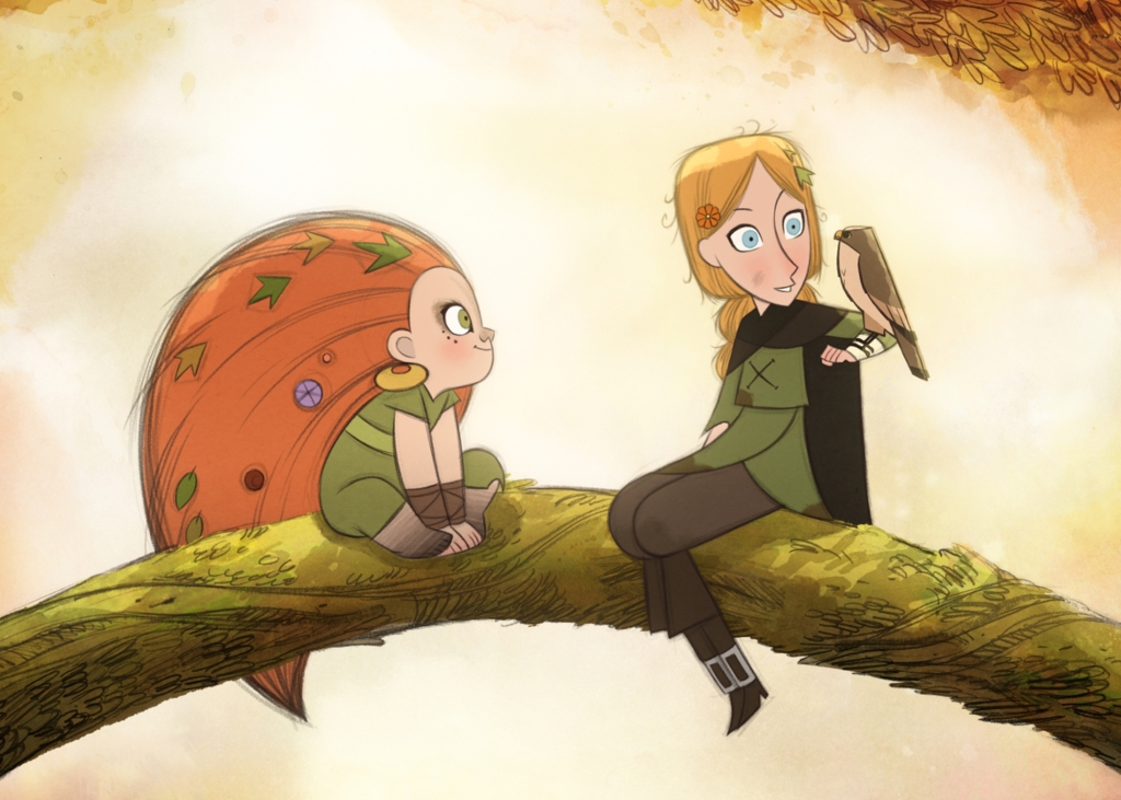 Mebh, a young girl in green garb and huge ginger hair, and Robyn, a young girl in medieval workers outfit holding a hawk, sit on a branch in the forest. From 'Wolfwalkers'