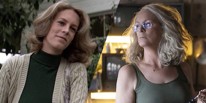 Movie stills of Jamie Lee Curtis as Laurie Strode in Halloween (1978) and Halloween (2018.)