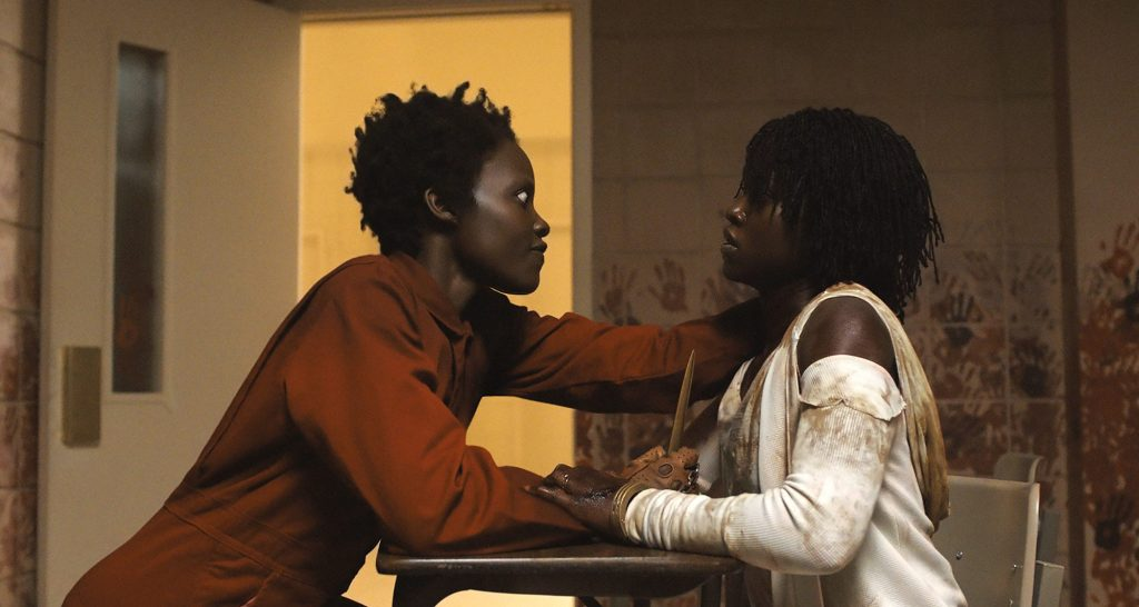 Lupita Nyong'o as Red and Adelaide Wilson in movie still from Us.