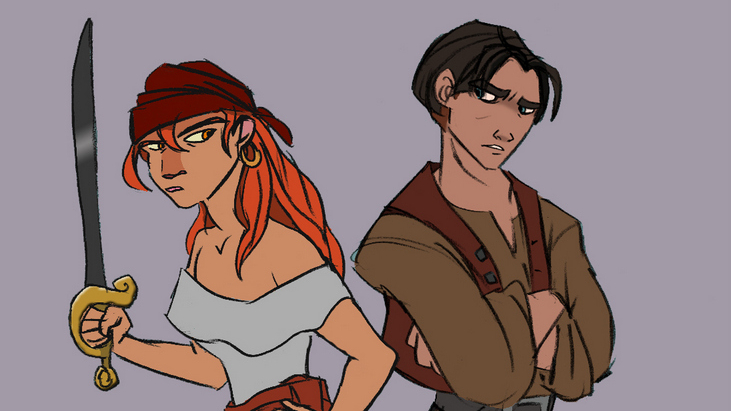 This is an initial sketch of Pirate Kate (left) and Jim (right) for Treasure Planet Two. Kate is holding a sword whilst Jim stands with his back to her.