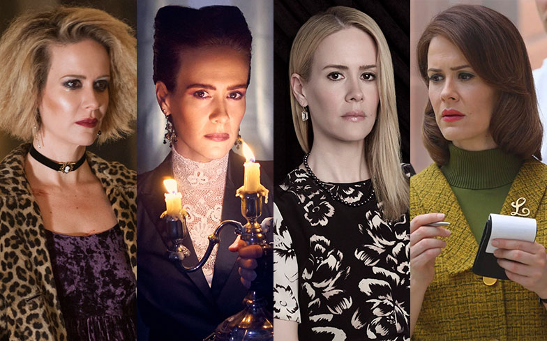 Multiple television stills of Sarah Paulson from different seasons of American Horror Story.