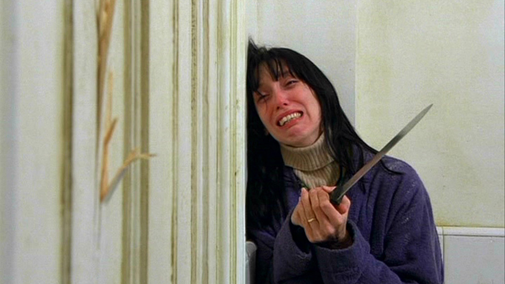 Shelley Duvall as Wendy Torrance in movie still from The Shining.