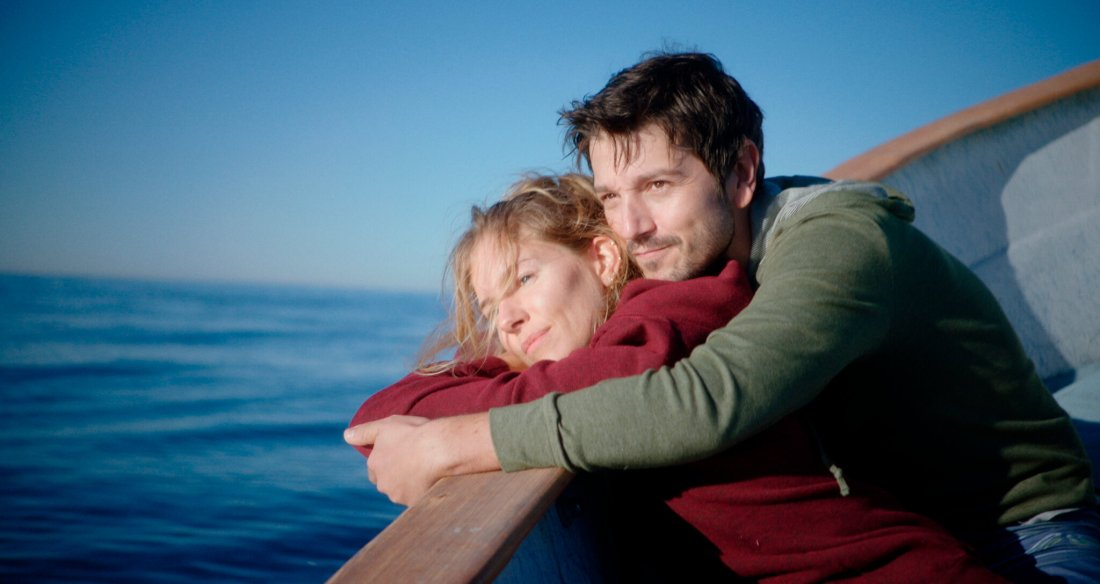 Image is from the film 'Wander Darkly' (2020). Adrienne and Matteo look happy and content on a boat, staring out to see whilst in a warm embrace.