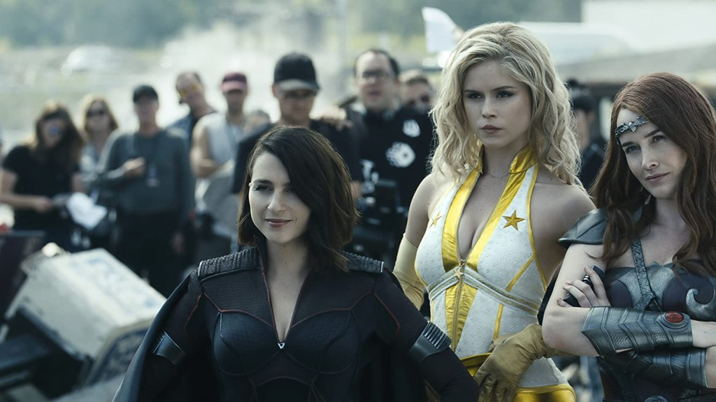 Stormfront (Aya Cash), Starlight (Erin Moriarty) and Queen Maeve (Dominique McElligot) pose next to each other.