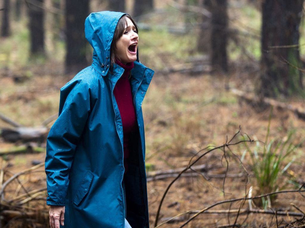 A woman in a blue raincoat stands in a forest and screams out in anguish.