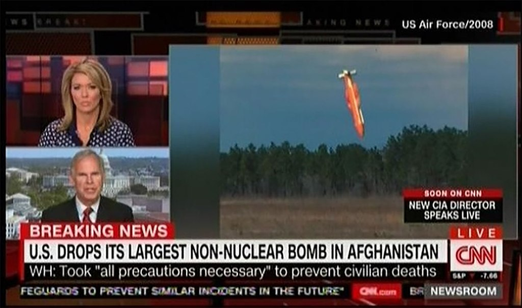 CNN coverage of the deployment of a large bomb by the US military in Afghanistan.