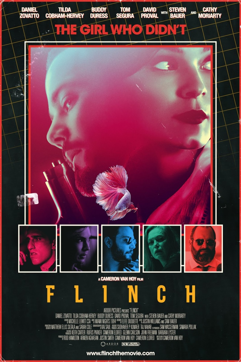 """The poster for the film Flinch. A man and a women are enshrouded in red in a square in the centre of the poster. They are looking in opposite directions and the man is holding a gun. Above them, it says """"The girl who didn't"""" in read lettering. Below the couple is five images of other characters, each covered in a different colour. Below them, is the film's title - Flinch."""